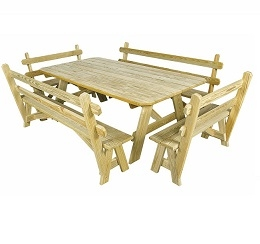 "Shown with 6'6"" Benches with Backs and 4' Benches with Backs (each sold seperately)"