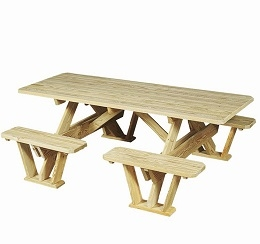 3' x 7' Picnic Table with Attached Benches