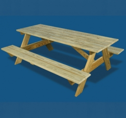 "6'6 x 30"" Picnic Table with Attached Benches"