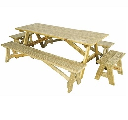 "Shown with 6'6"" Table (sold seperately) and 2' Bench (not available)"